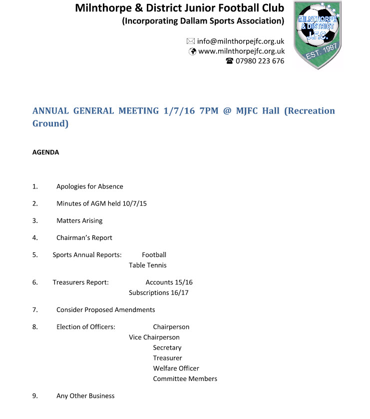 Agm  Annual General Meeting   Milnthorpe Junior Football Club
